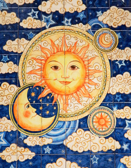 Керамическое панно Солнце и луна