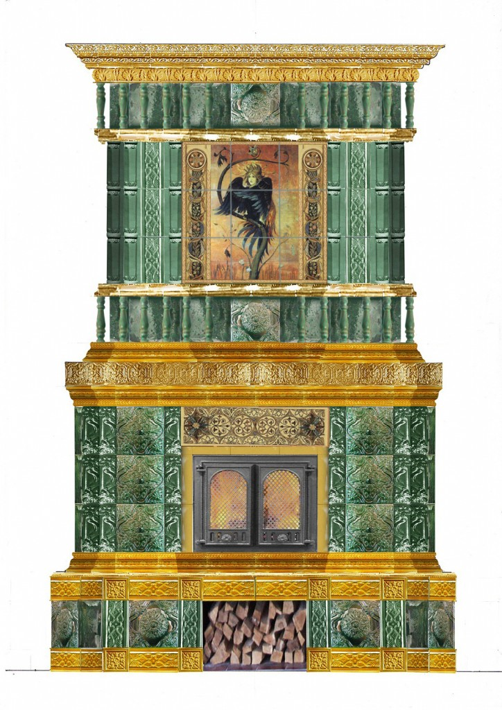 камин с Васнецовскими орнаментами со швом