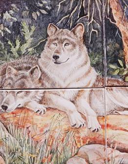 Керамическое панно Волки