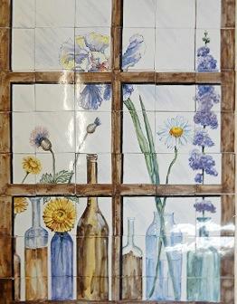 Панно Цветы в окне