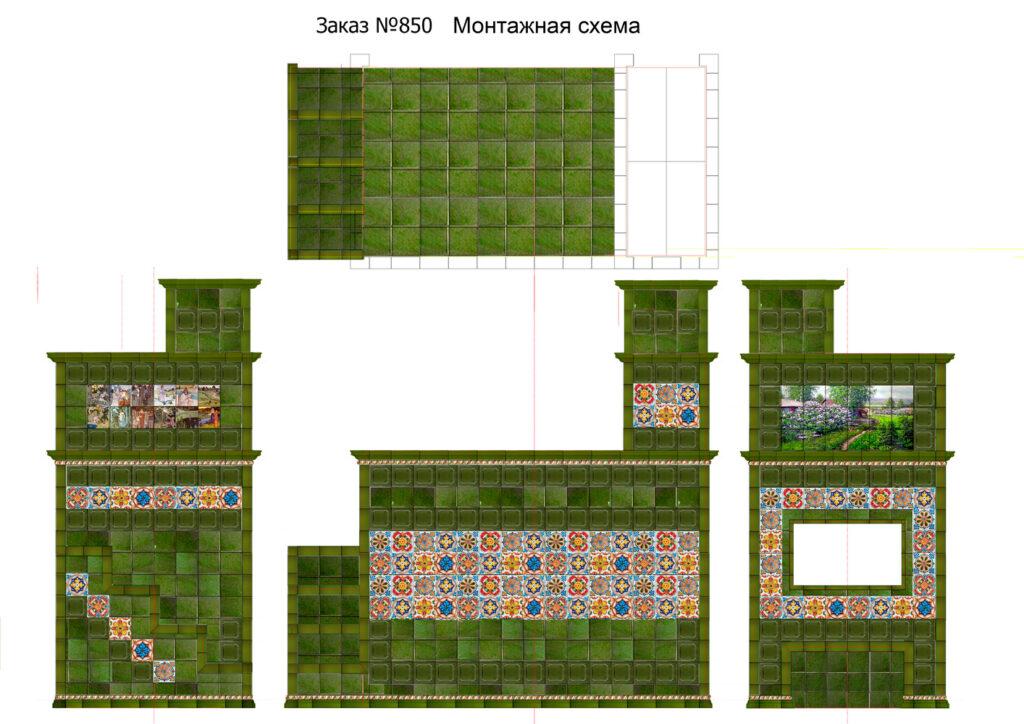 Проект русской печи с изразцами