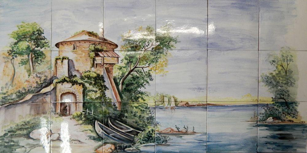 пейзаж с лодкой-мал