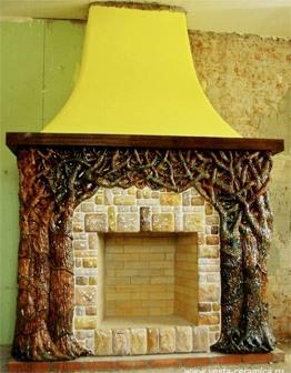 Керамический лепной камин Бурелом