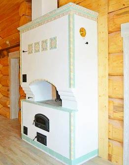«Мятная» печь-мазанка с изразцами