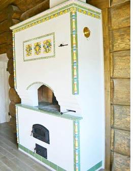 «Луговая» печь-мазанка с изразцами