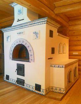 Изразцовая печь Гжель с лежанкой